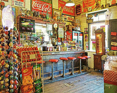 Photograph - Old General Store Soda Fountain Gruene Tx by Rebecca Korpita