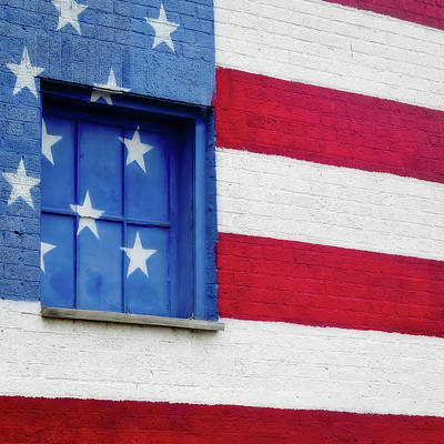 Robert Bellomy Royalty-Free and Rights-Managed Images - Old Glory, American Flag Mural, Street Art by Robert Bellomy
