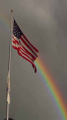 Photograph - Old Glory And Rainbow by Bill Tomsa
