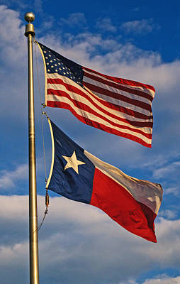 Photograph - Old Glory And The Lone Star Flag by Tikvah's Hope