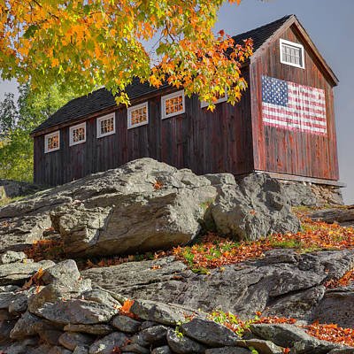 Old Glory Autumn Square Art Print by Bill Wakeley