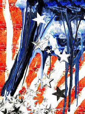 Old Glory Mixed Media - Old Glory Falling Stars 2 by Daniel Janda