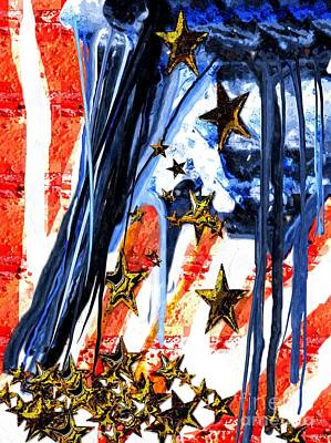 Old Glory Mixed Media - Old Glory Falling Stars by Daniel Janda