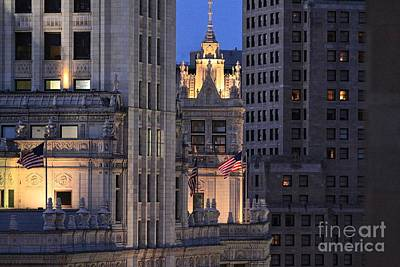 Photograph - Old Glory Flying High In Chicago by Kate Purdy