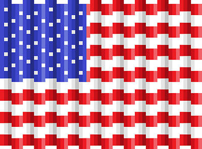 Digital Art - Pixilated Old Glory by Gerald Lynch