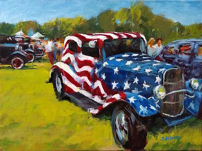 Painting - Old Glory Hot Rod by Peter Salwen