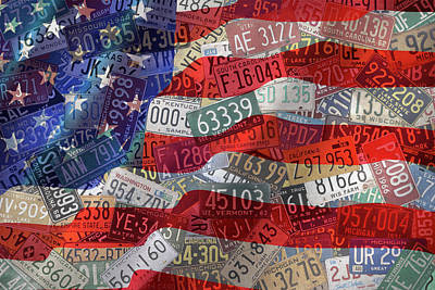 Waving Flag Mixed Media - Old Glory In Recycled Vintage License Plates by Design Turnpike