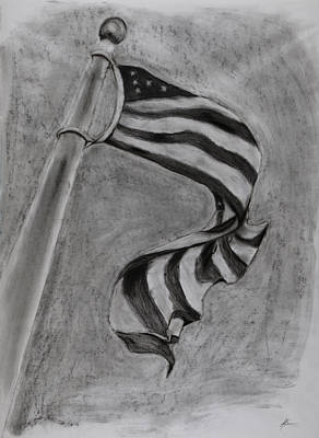 Old Glory Drawing - Old Glory by Jerry Bonmer