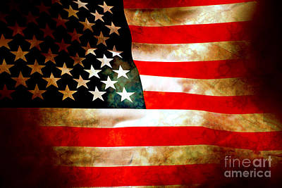 Antiques Digital Art - Old Glory Patriot Flag by Phill Petrovic