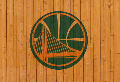 Warrior Mixed Media - Old Golden State Warriors Basketball Gym Floor by Design Turnpike
