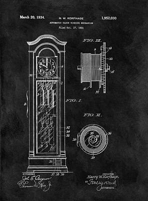 Old Grandfather Clock Patent Art Print by Dan Sproul