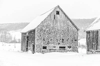 Photograph - Old Grandham Barns Winter by Edward Fielding