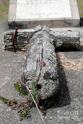 Print featuring the photograph Old Graveyard Cross by Yurix Sardinelly