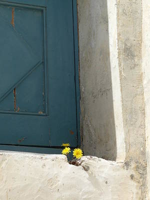Old Greek Door Art Print by Valerie Ornstein