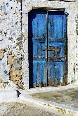 Photograph - Old Greek Isle Blue Door In Pyrgos Village, Santorini Island, Greece by Global Light Photography - Nicole Leffer
