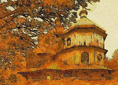 The Wooden Cross Painting - Old Greek Orthodox Church In Poland by Maciek Froncisz