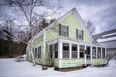 Photograph - Old Green And White New Englander Home by Edward Fielding