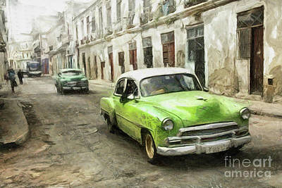 Drawing - Old Green Car by Daliana Pacuraru