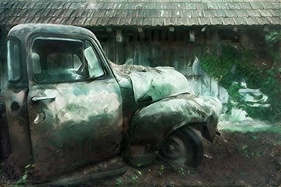 Photograph - Old Green Chevy Pickup Truck At The Barn by Debra and Dave Vanderlaan