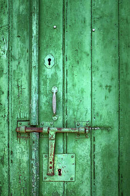 Photograph - Old Green Door Detail by Carlos Caetano