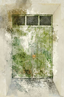 Salento Photograph - Old Green Door In France by Brandon Bourdages
