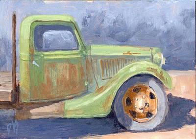 Truck Painting - Old Green Ford by David King