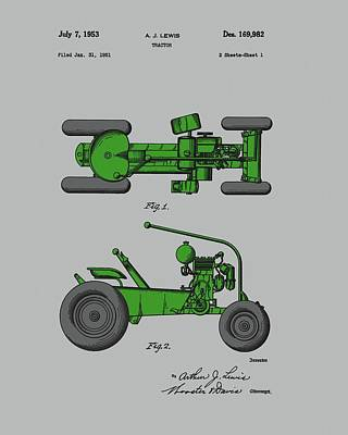 American Food Drawing - Old Green Tractor Patent by Dan Sproul
