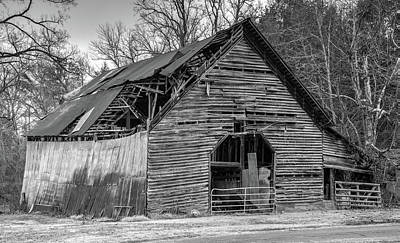 Old Grey Barn With Collapsed Roof Art Print by Douglas Barnett