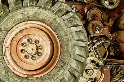 Photograph - Old Grey Combine Wheel by John Williams