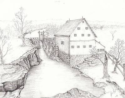 Grist Mill Drawing - Old Grist Mill by Dan Theisen