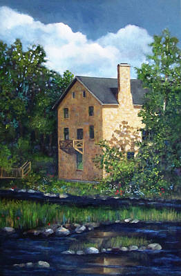Old Mill Scenes Painting - Old Grist Mill In Canada by Joyce Geleynse