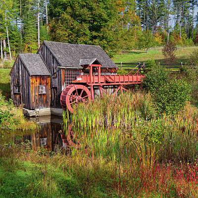 New England Fall Foliage Photograph - Old Grist Mill Square by Bill Wakeley