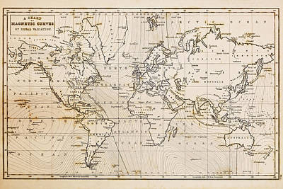World Map Poster Photograph - Old Hand Drawn Vintage World Map by Richard Thomas