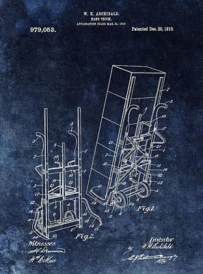 Two Wheeler Drawing - Old Hand Truck Patent by Dan Sproul