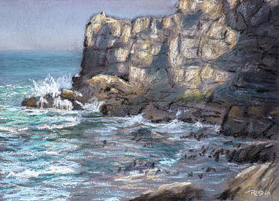 Pastel - Old Harbor Cliffs by Christopher Reid
