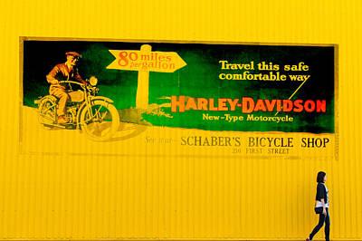 Old Harley Davidson Motorcycle Billboard On Yellow Building Art Print