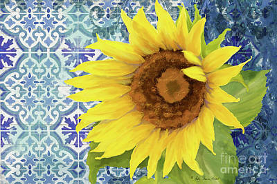 Painting - Old Havana Sunflower - Cobalt Blue Tile Painted Over Wood by Audrey Jeanne Roberts