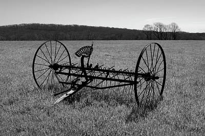 Photograph - Old Hay Rake Bw by Dave Gordon