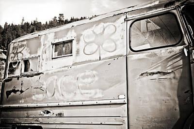 Window Photograph - Old Hippie Peace Van by Marilyn Hunt