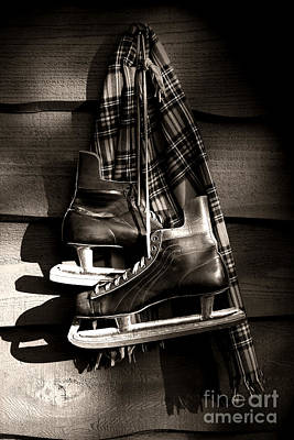 Old Hockey Skates With Scarf Hanging On A Wall Art Print by Sandra Cunningham