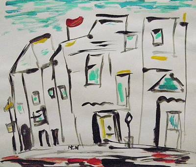 Drawing - Old Homes In The City by Mary Carol Williams