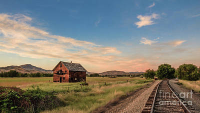 Haybales Photograph -  Old Homestead And The Train Tracks by Robert Bales