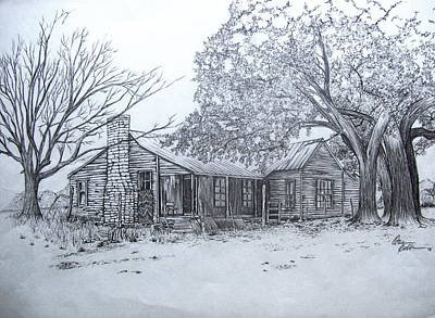 Abandoned House Drawing - Old Homestead by Otis  Cobb