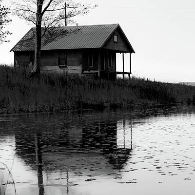 Photograph - Old Homestead Reflections - Black And White by Gregory Ballos
