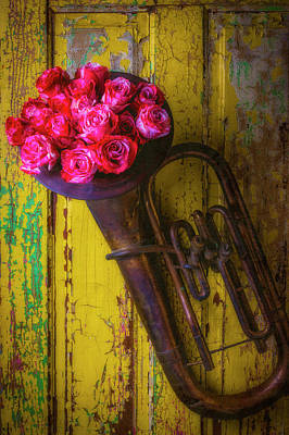 Tuba Wall Art - Photograph - Old Horn And Roses On Door by Garry Gay
