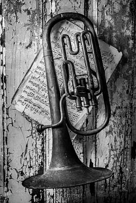 Old Sheet Music Photograph - Old Horn In Black And White by Garry Gay