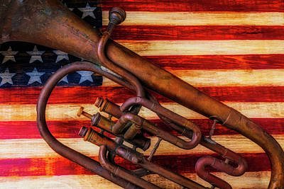 Photograph - Old Horn On American Flag by Garry Gay