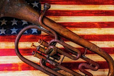 Tuba Photograph - Old Horn On American Flag by Garry Gay