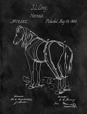 Animals Drawings - Old Horse Harness Patent  by Dan Sproul