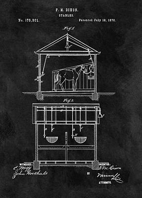 Old Horse Stable Patent Art Print